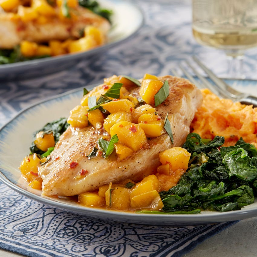 Chicken & Honey-Glazed Peach with Sweet Potato, Spinach, & Thai Basil