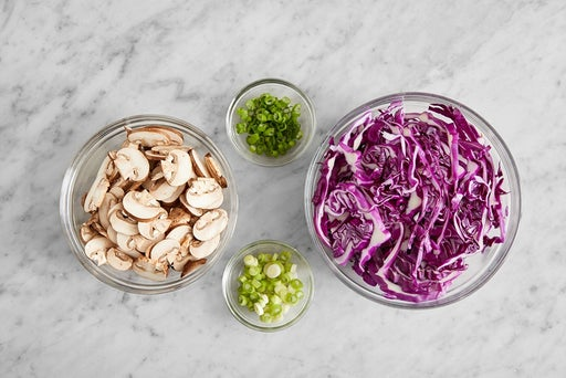 Prepare the ingredients for the Cumin-Sichuan Pork & Noodles:
