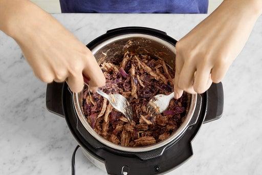 Cook & shred the pork: