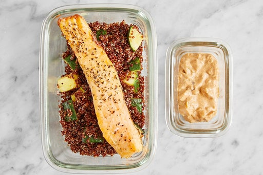 Assemble & Store the Roasted Salmon & Quinoa: