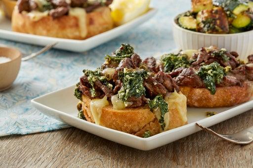 Steak Tartines with Spinach Pesto & Summer Squash