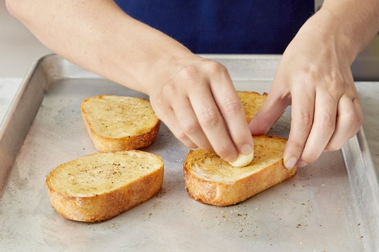 Make the garlic toasts: