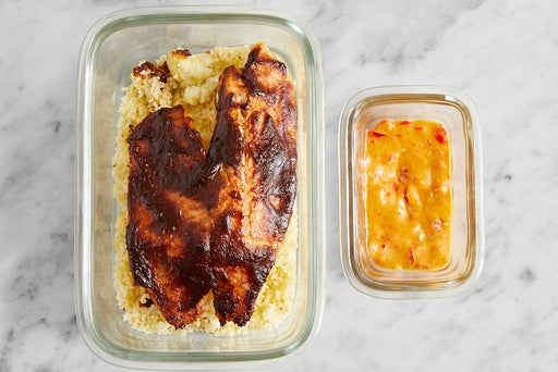 Assemble & Store the BBQ Tilapia & Pepper Mayo:
