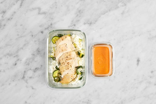 Assemble & Store the Chicken & Zucchini Rice: