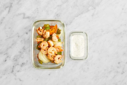 Assemble & Store the Seared Shrimp & Marinated Feta: