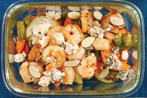Finish & Serve the Seared Shrimp & Marinated Feta: