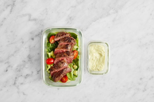 Assemble & Store the Tomatillo Steak Salad: