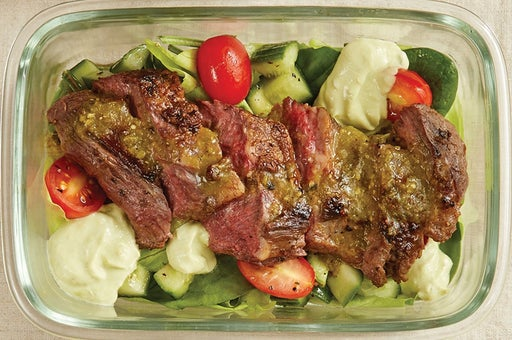 Finish & Serve the Tomatillo Steak Salad: