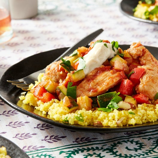 Seared Chicken & Saffron Couscous with Summer Squash & Red Bell Pepper