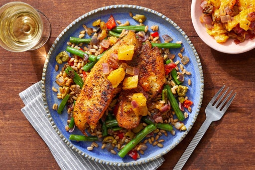 Spanish-Spiced Fish & Farro Salad with Warm Fruit Salsa
