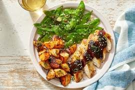 Seared Chicken & Spicy Potatoes with Black Bean-Chile Pan Sauce