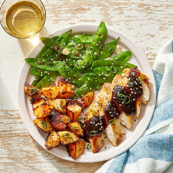 Seared Chicken & Spicy Potatoes with Black Bean-Butter Pan Sauce