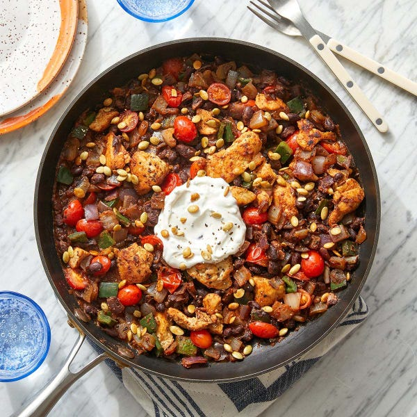 Chipotle Chicken & Black Bean Skillet with Toasted Pepitas & Sour Cream