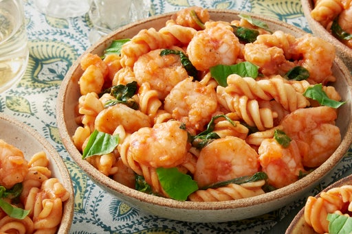 Shrimp & Fresh Fusilli Pasta with Spinach & Basil