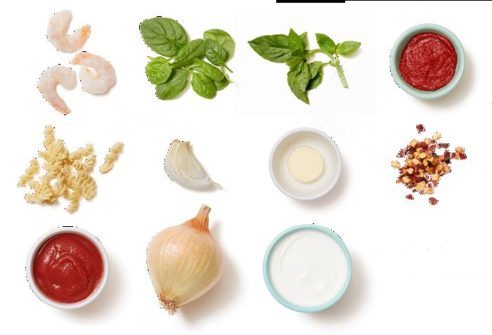 Shrimp & Fresh Fusilli Pasta with Spinach & Basil