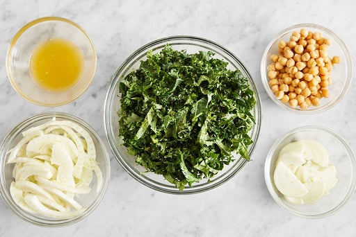 Prepare the ingredients & marinate the kale: