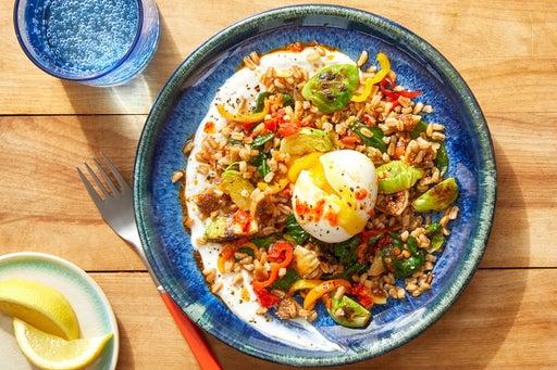 Mediterranean Farro Bowls with Lemon Yogurt & Chile Oil