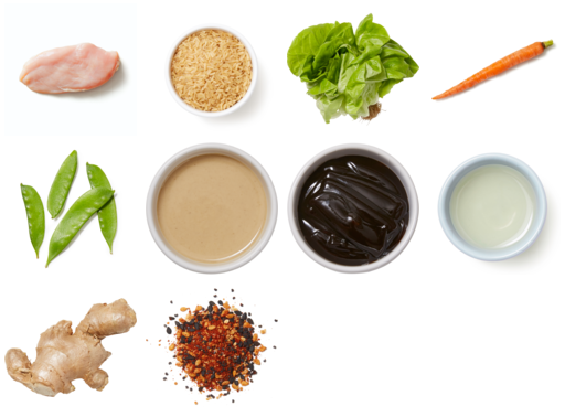 Tahini Chicken Lettuce Cups with Snow Peas, Carrots & Brown Rice