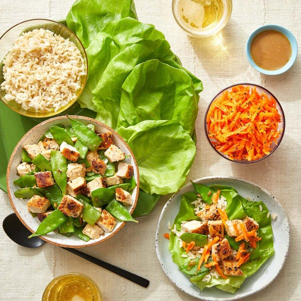 Peanut Chicken Lettuce Cups with Snow Peas, Carrots & Brown Rice