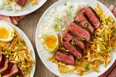 Seared Steaks & Soft-Boiled Eggs with Quick Kimchi & Jasmine Rice