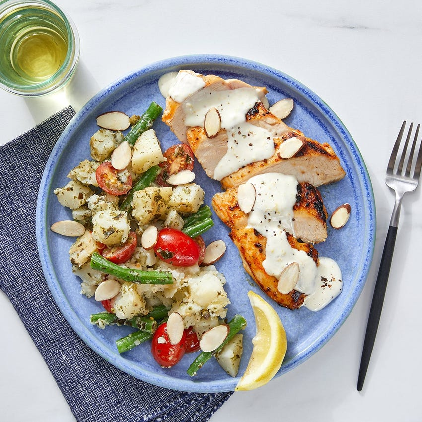 Seared Chicken & Creamy Lemon Sauce with Salsa Verde Potato Salad