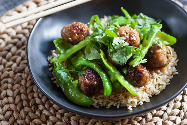 Glazed Mini Pork Meatballs & Snow Peas over Brown Rice
