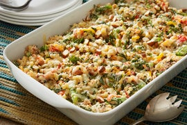 Baby Broccoli & Fregola Sarda Casserole with Sweet Peppers & Asiago Cheese