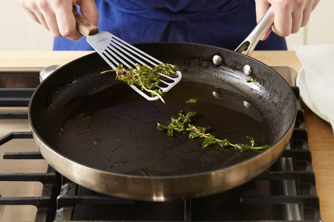 Fry the oregano: