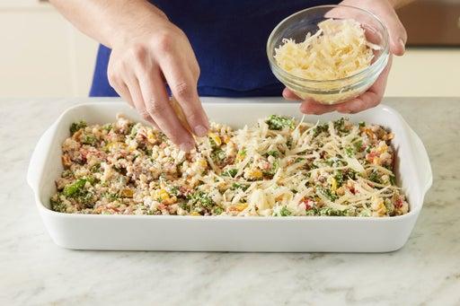 Finish the pasta & assemble the casserole: