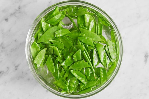 Blanch & shock the snow peas:
