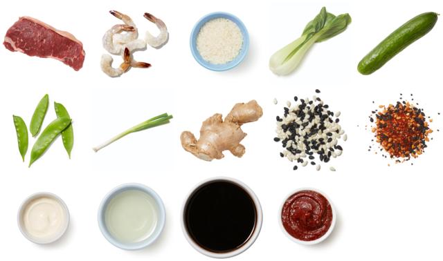Hibachi-Style Steak & Shrimp with Bok Choy, Snow Peas & Marinated Cucumbers