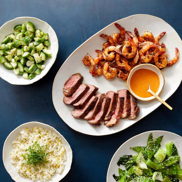 Hibachi-Style Steak & Shrimp with Bok Choy, Snow Peas & Marinated Cucumbers