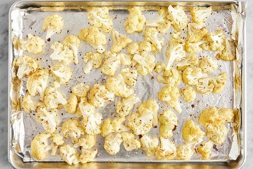 Roast the cauliflower & finish the quinoa: