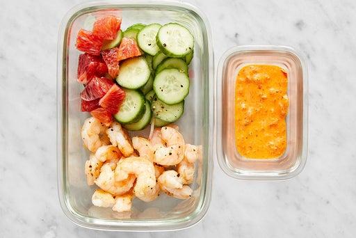 Assemble & Store the Shrimp & Orange Salad: