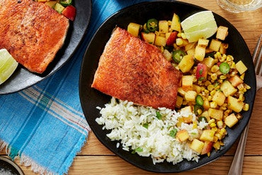 Salmon & Cilantro-Lime Rice with Peach-Corn Salsa
