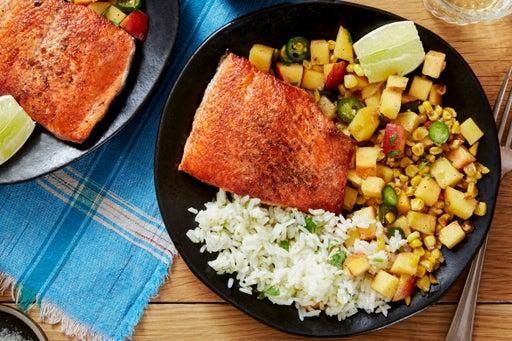 Salmon & Cilantro-Lime Rice with Peach & Corn Salsa