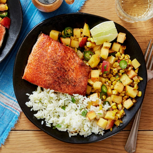 Salmon & Cilantro-Lime Rice with Peach & Corn Salsa
