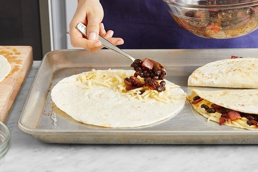 Assemble & bake the quesadillas: