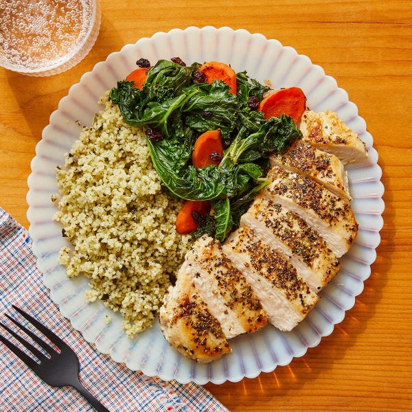 Italian-Style Chicken & Couscous with Carrots, Currants & Kale
