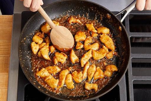 Coat, cook & glaze the chicken: