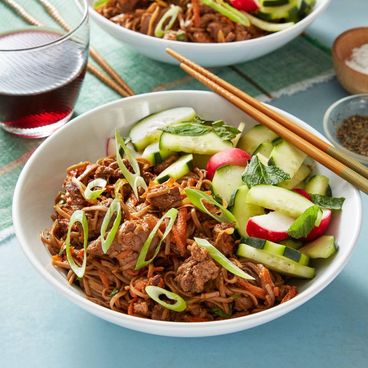 Bulgogi Beef & Soba Noodle Stir-Fry with Marinated Vegetables