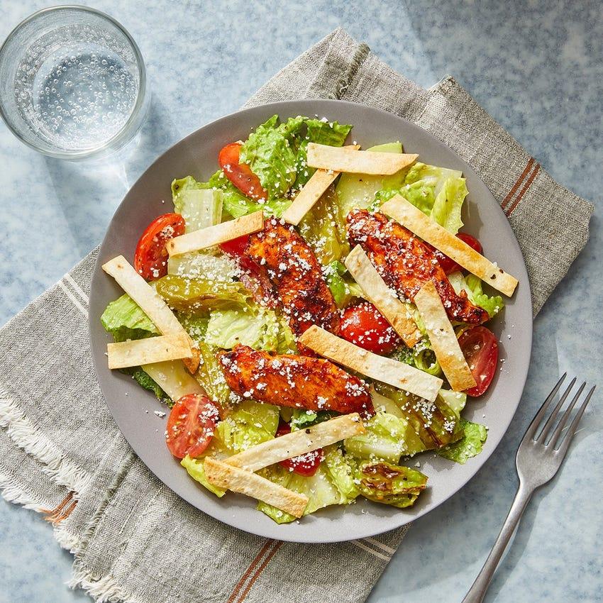 Ancho-Honey Chicken Salad with Guacamole Dressing & Crispy Tortilla Strips