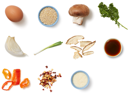 Mushroom & Barley Bowls with Fried Eggs, Kale & Parmesan Cheese