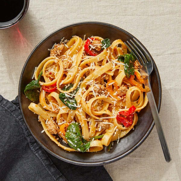 Tuscan Pork Pasta with Romesco Sauce & Spinach