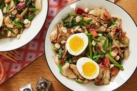 Sweet & Savory Korean Rice Cakes with Plum, Yu Choy, & Garlic Chives