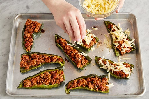 Assemble & bake the stuffed peppers: