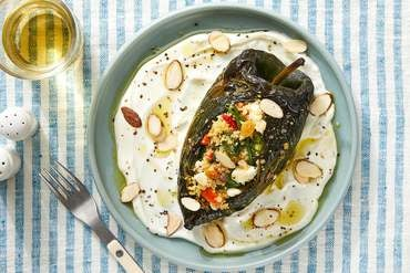 Couscous-Stuffed Poblano Peppers with Spinach, Feta Cheese & Tahini Dressing