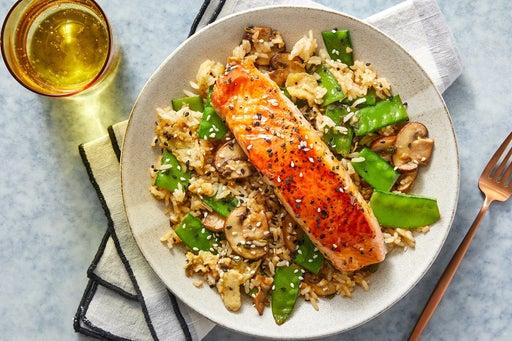 Orange Salmon & Fried Rice with Mushrooms & Snow Peas