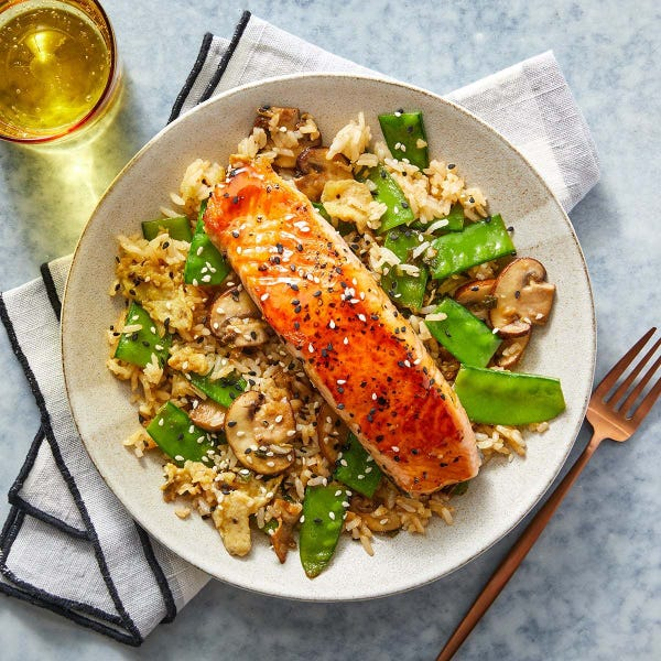 Orange Salmon & Fried Rice with Mushrooms & Snow Peas