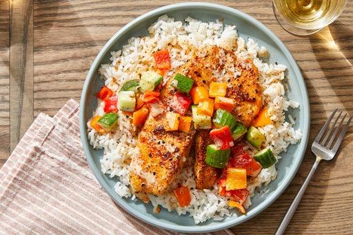 Seared Fish & Ponzu Mayo with Marinated Vegetables & Garlic Rice